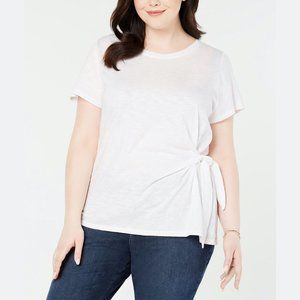Style & Co. Women's PLUS Side Tie Crewneck T-Shirt